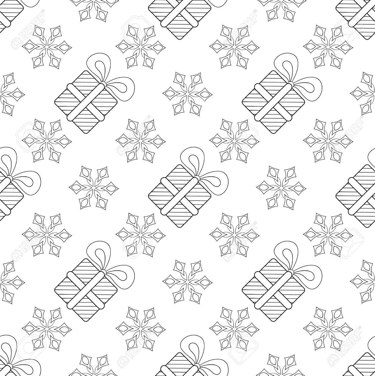 Flocons De Neige Avec Modele Sans Couture De Boite Cadeau De Noel