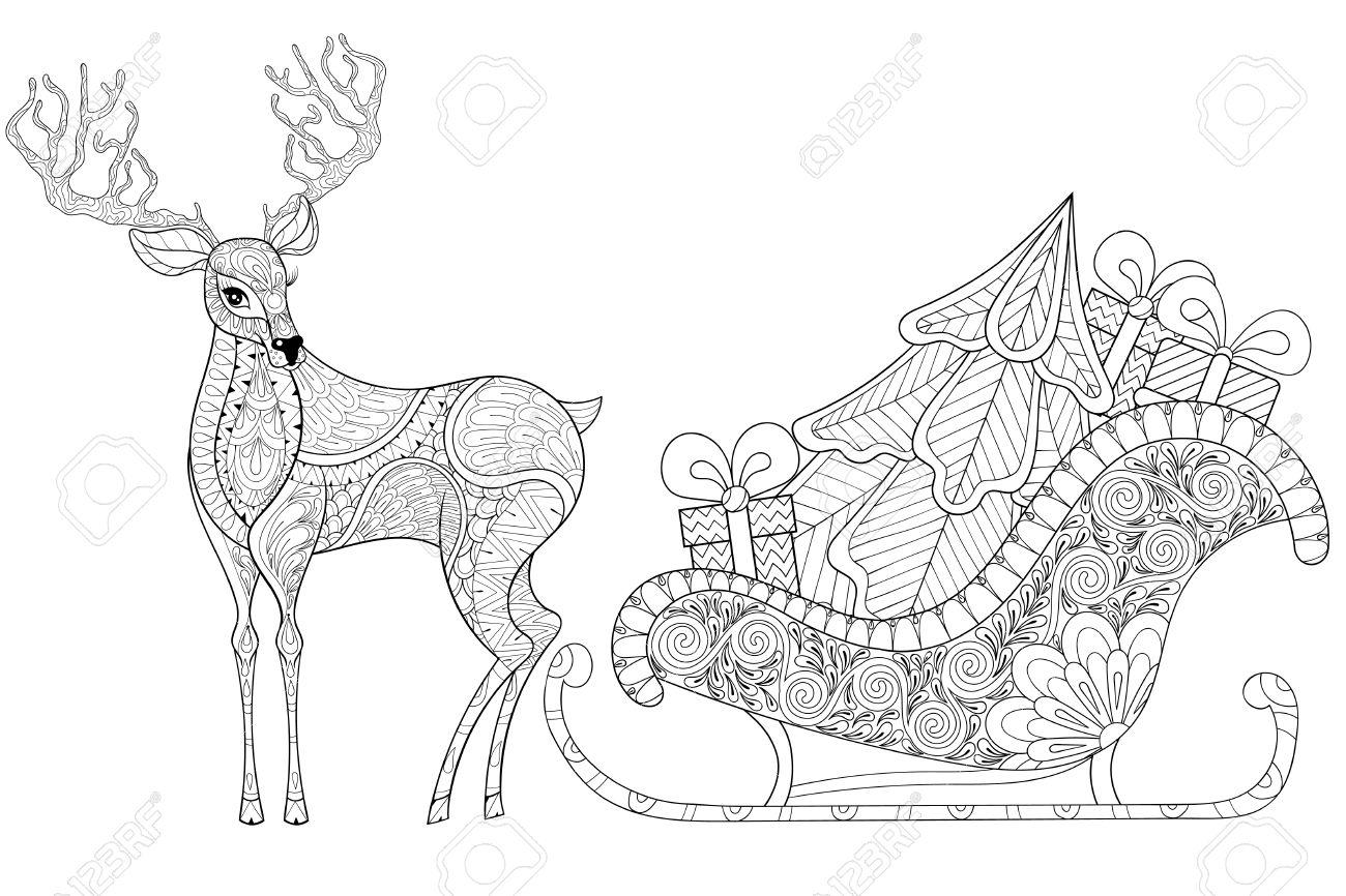 Reno Con El Trineo De Santa Con El árbol De Navidad, Regalos En ...