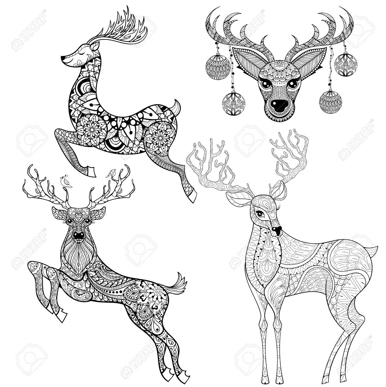 Dibujo Reno Navideo. Dibujos Para Colorear Navidad Animales Dibujo ...