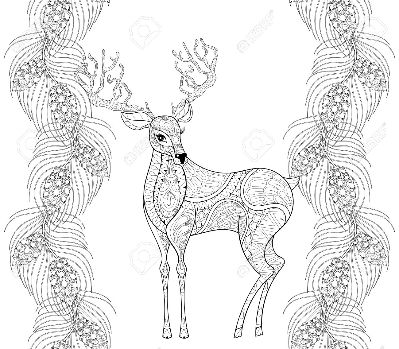 Reindeer With Fir, Pine Branch Seamless Frame For Christmas Adult ...