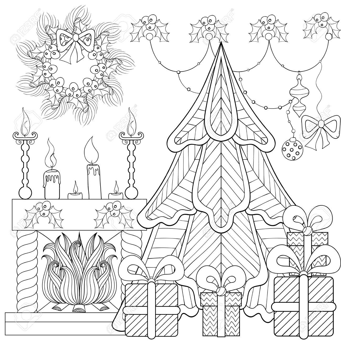 Dibujos Chimeneas De Navidad.Interior Con Dibujos De Navidad En Casa Con Chimenea Arbol De Navidad Regalos Para La Pagina De Adultos Contra El Estres Colorear Libro Terapia De