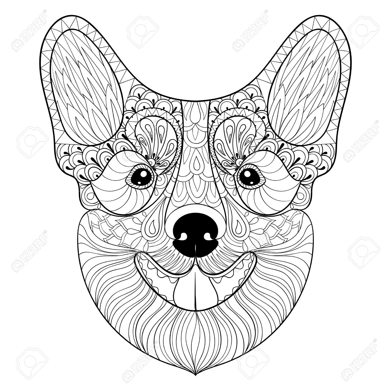 Dog Face In Monochrome Doodle Style. Puppy, Pembroke Welsh Corgi ...