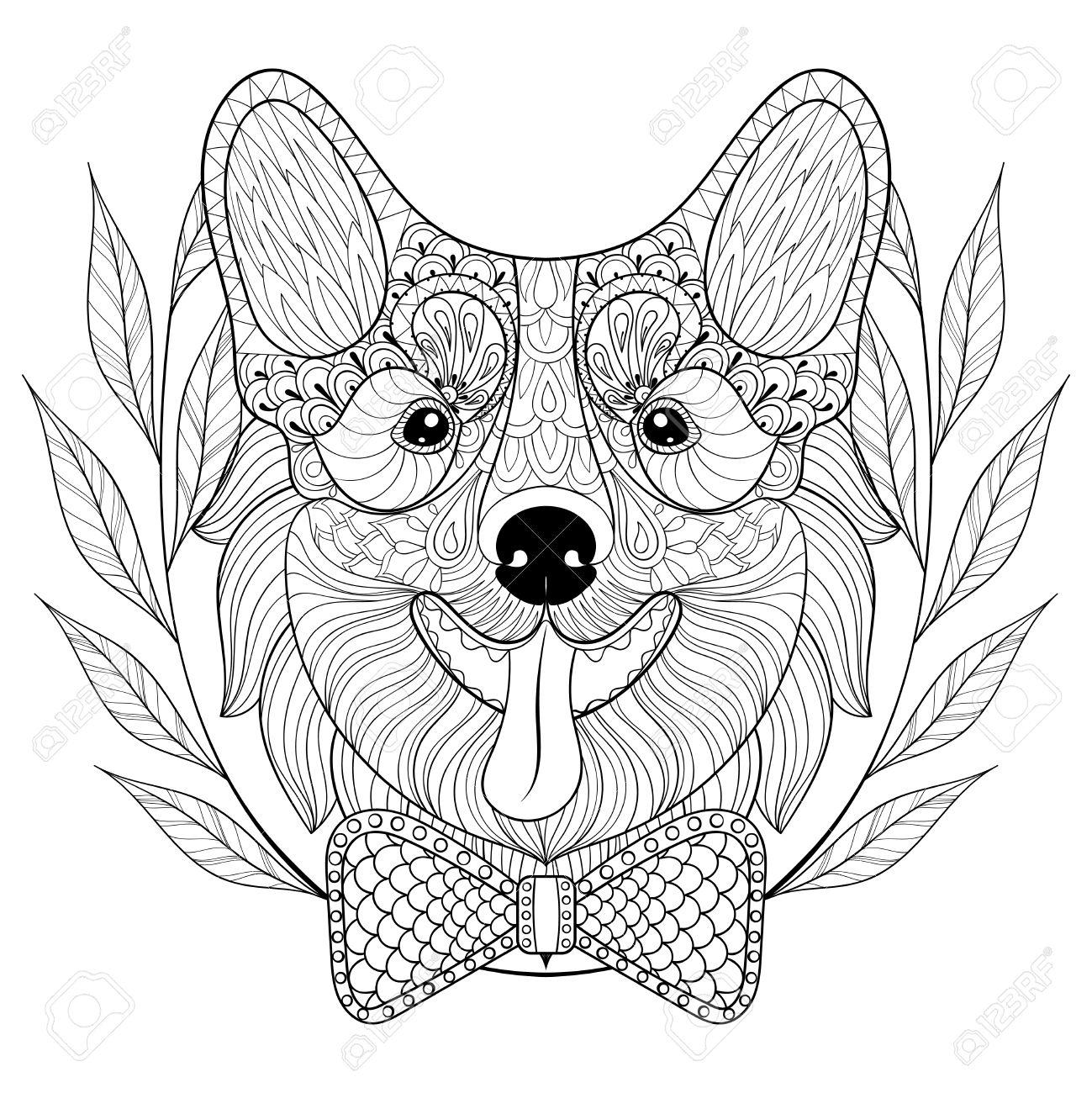 - Welsh Corgi With Bow Tie, Wreath Frame. Happy Puppy, Pembroke