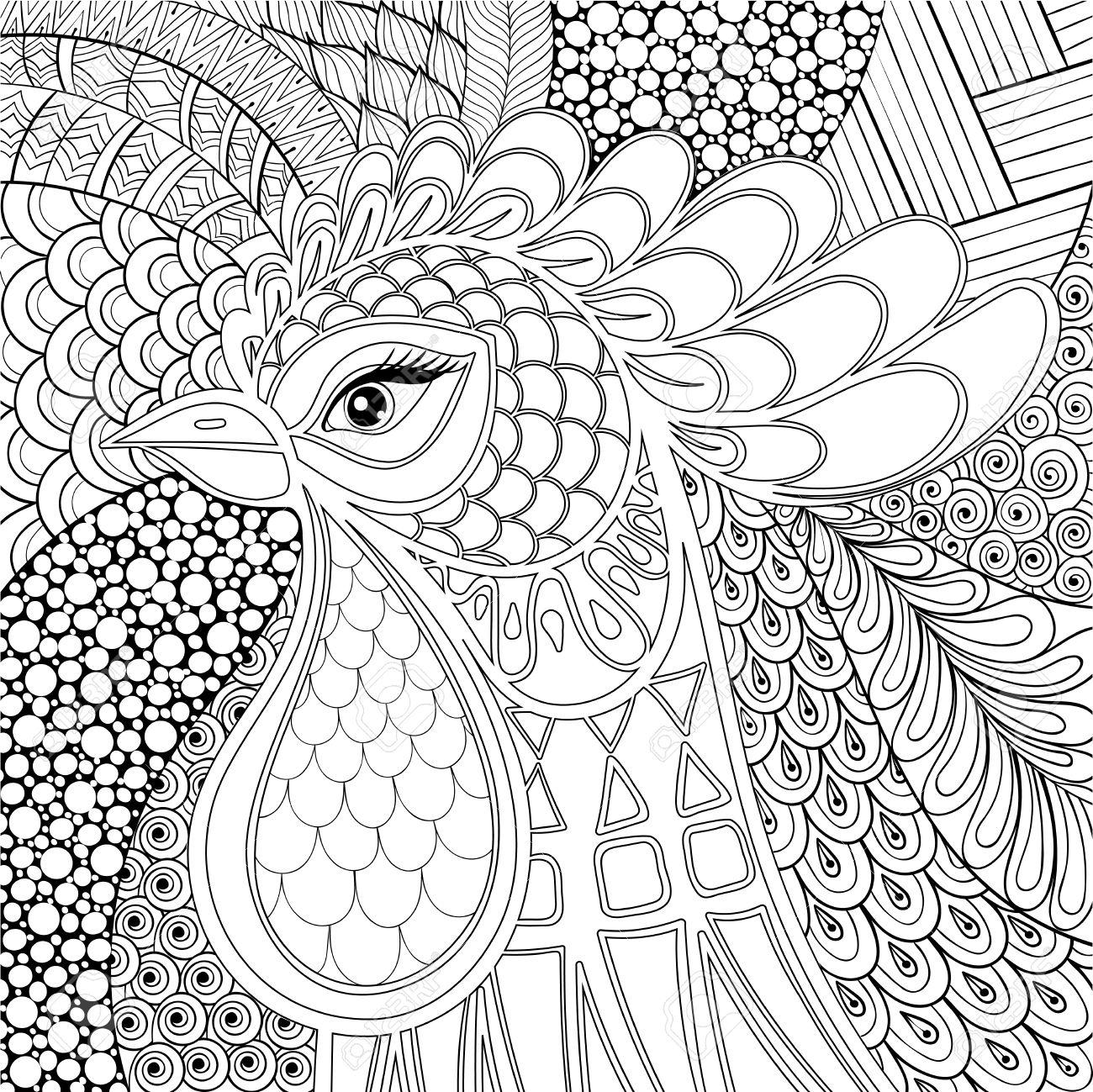 Ilustración De Gallo. Símbolo 2017 Del Año Nuevo. Pájaro De La ...