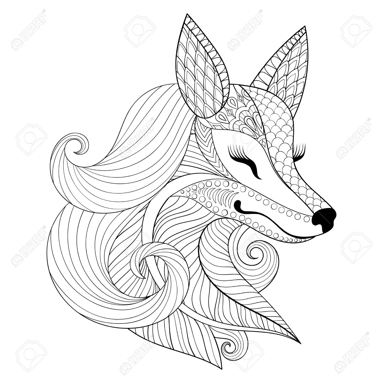 fox face in monochrome doodle style wild animal face illustration