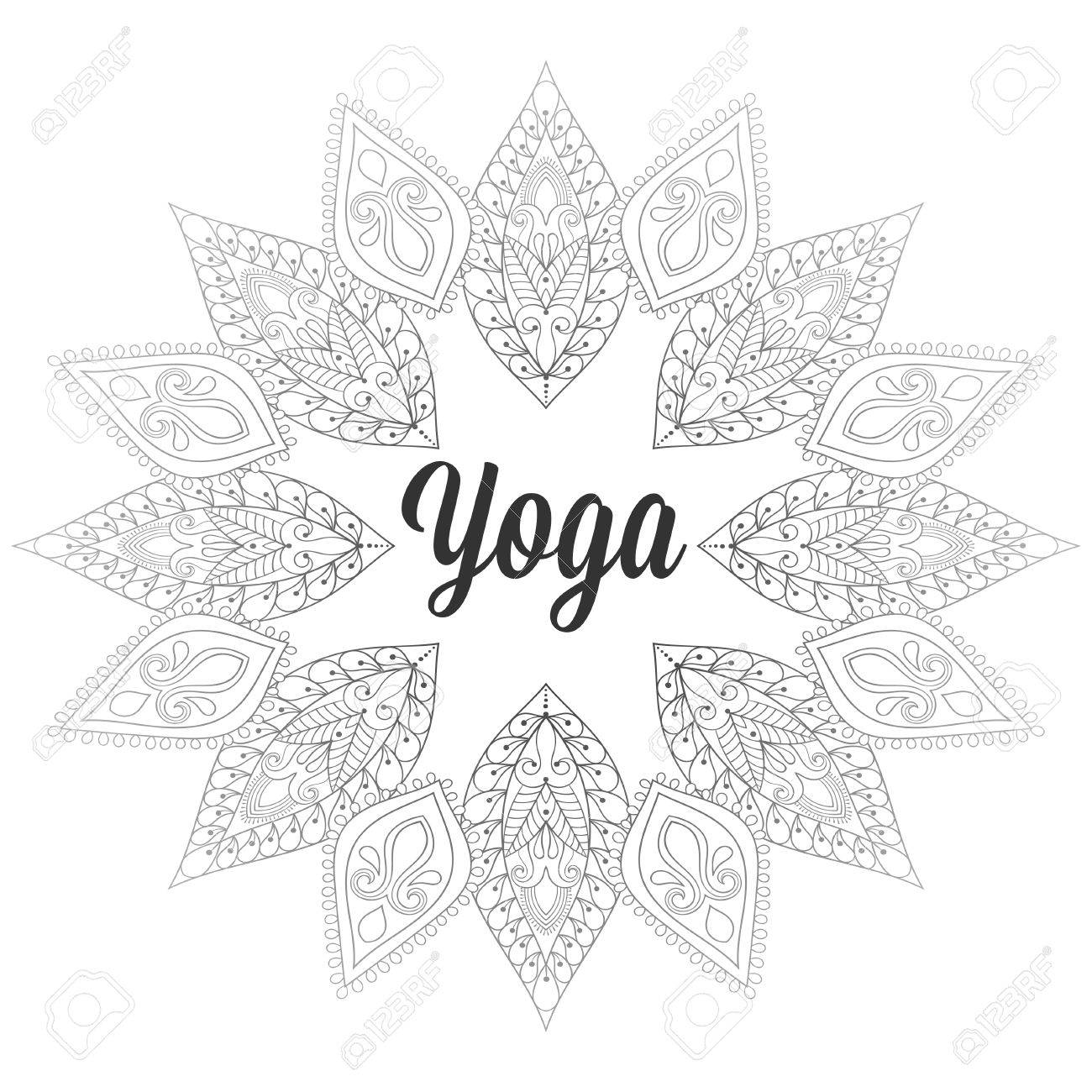 Yoga Monochrome Designtemplate Emblem With Leaves And Flowers