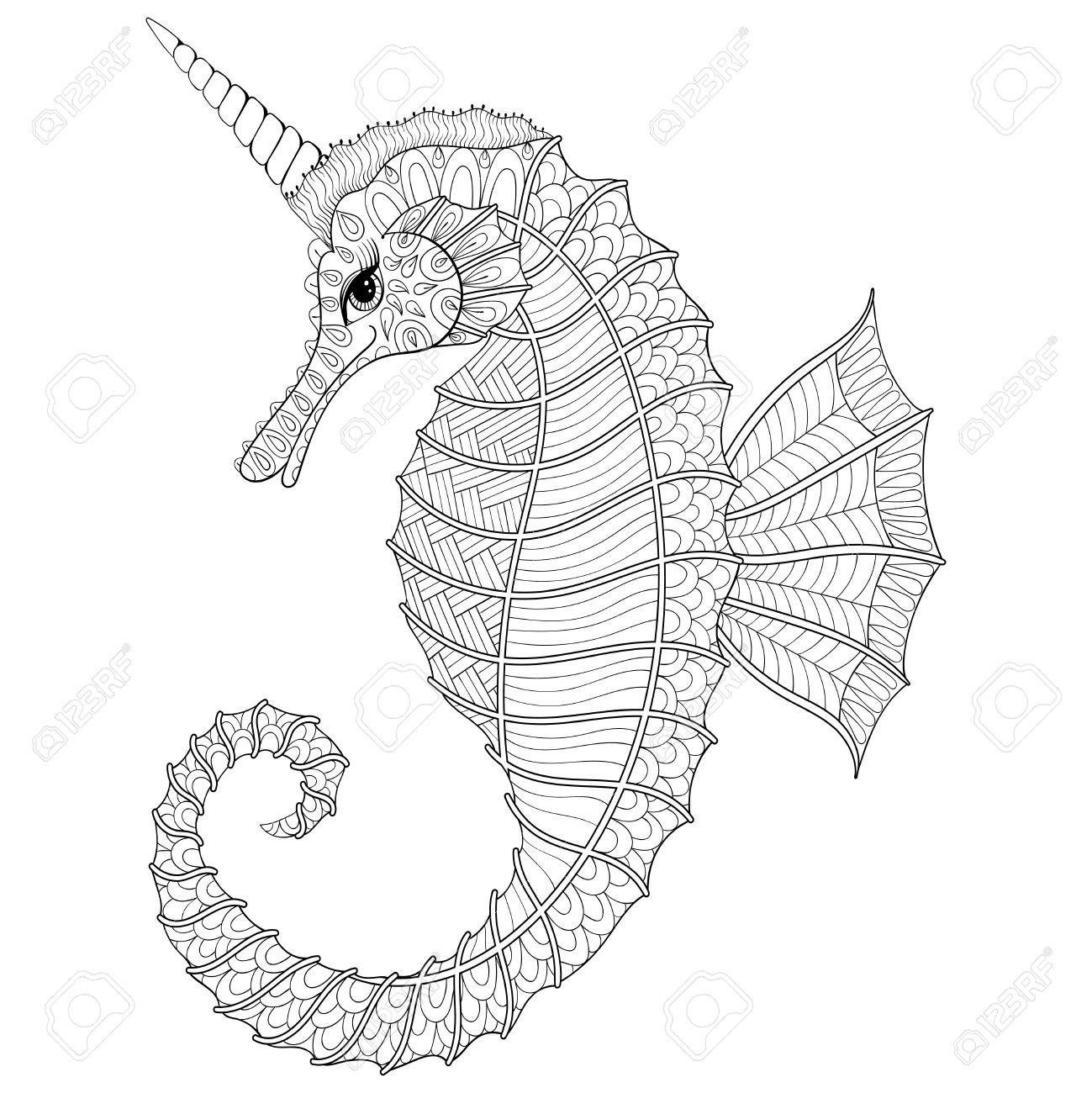 Stilisierte Schwarze Seepferd Wie Unicorn.illustration Für ...