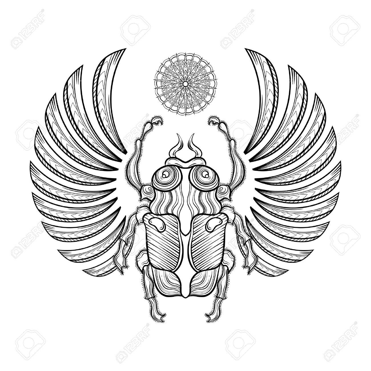 Abbildung ägyptischen Skarabäus Mit Flügeln. Ägyptische Symbole ...