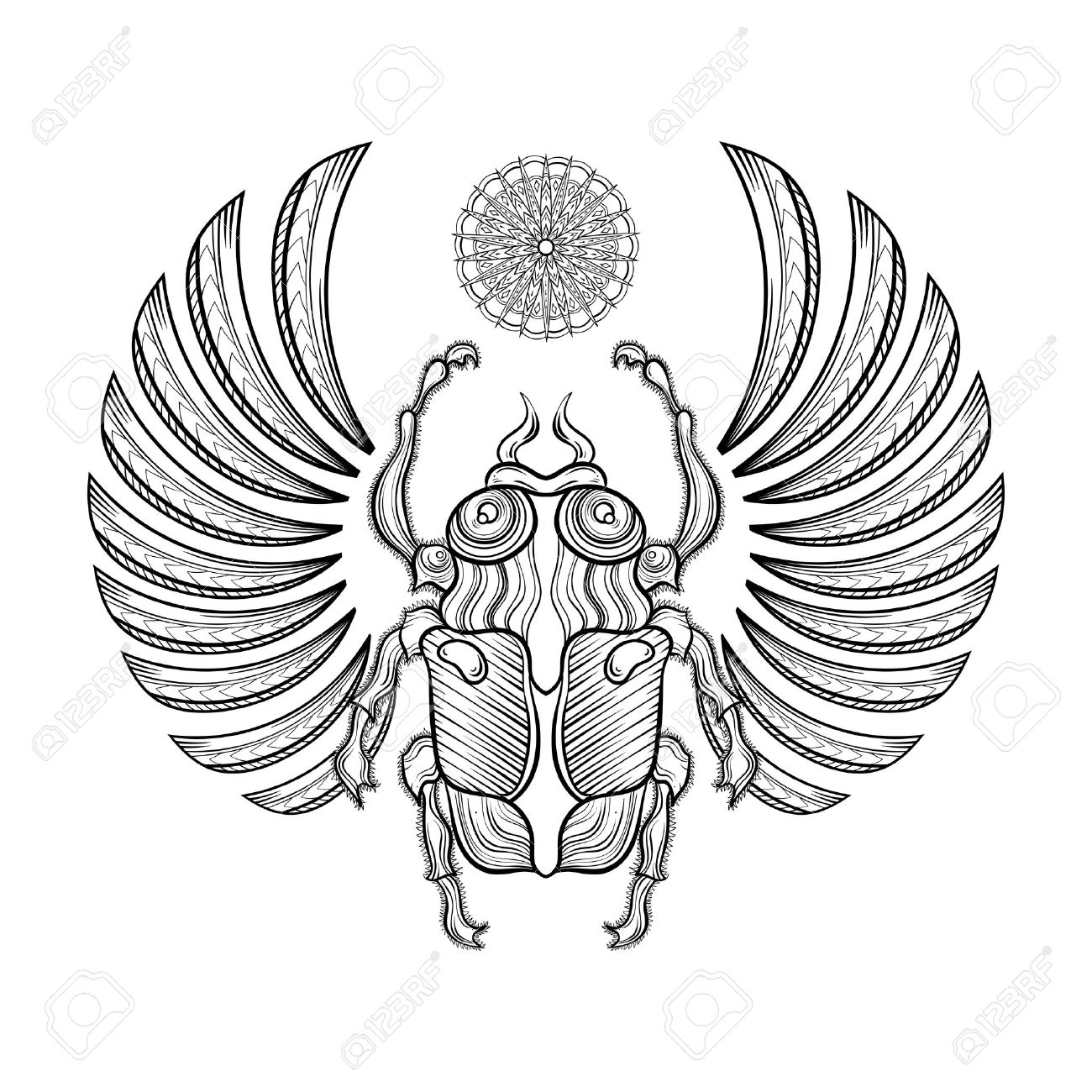 Illustration Egyptian Scarab Beetle With Wings Egyptian Icons
