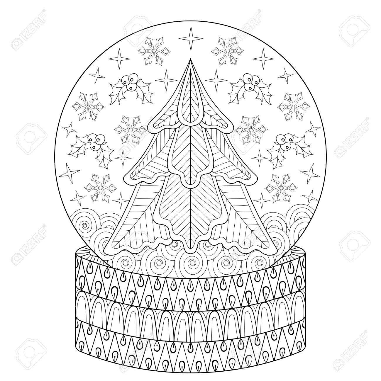 Schneekugel Mit Weihnachten Tanne, Innerhalb Schneeflocken. Urlaub ...
