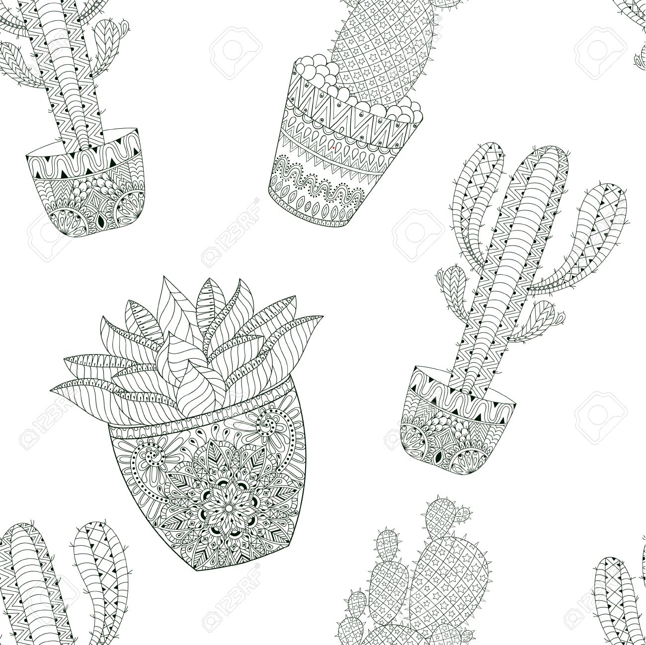 Zentangle Mexican Cactus Seamless Pattern Vector Illustration