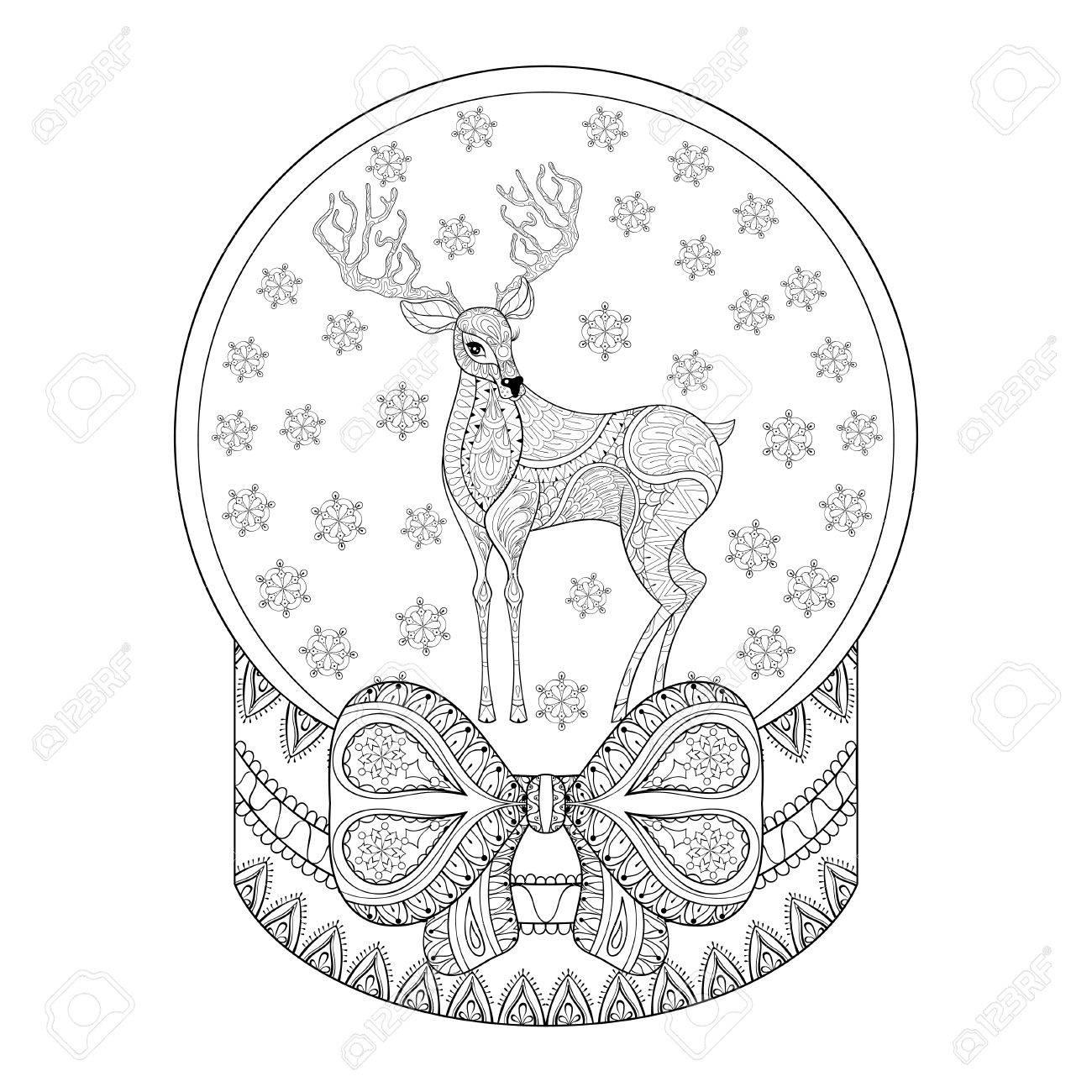 Vector Zentangle Christmas Snow Globe With Reindeer, Snowflake ...