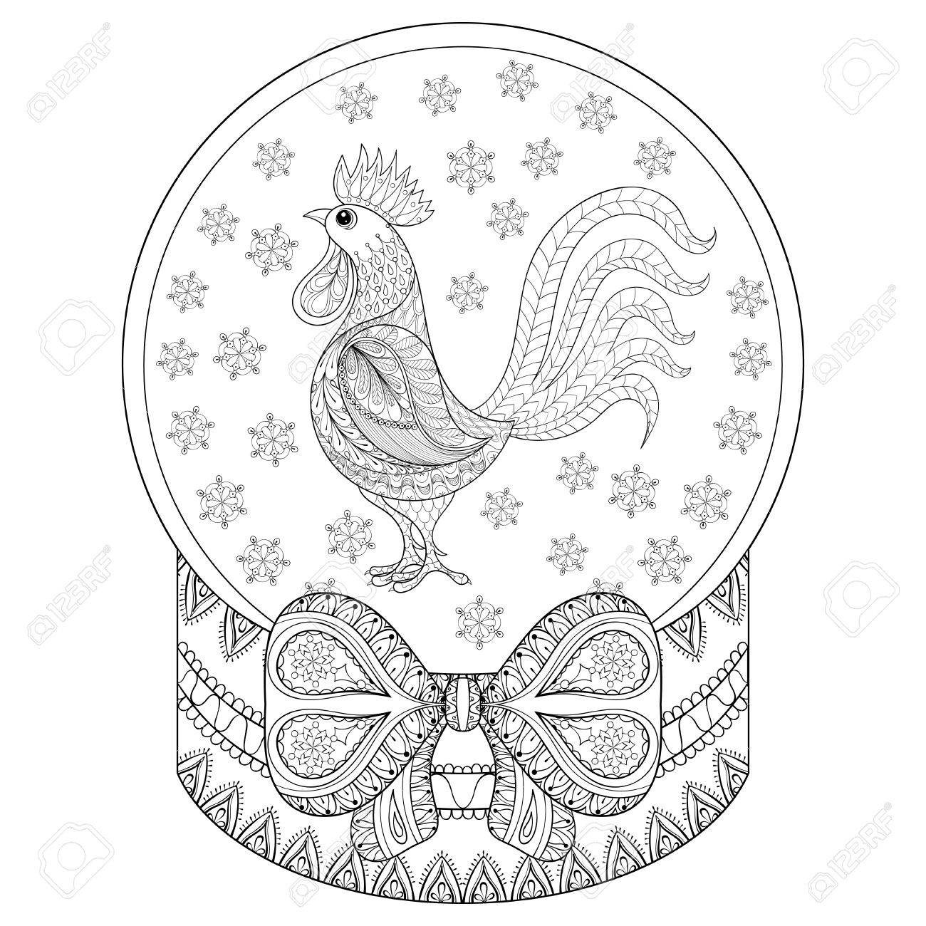 Vector Zentangle Christmas Snow Globe With Rooster, Snowflakes ...