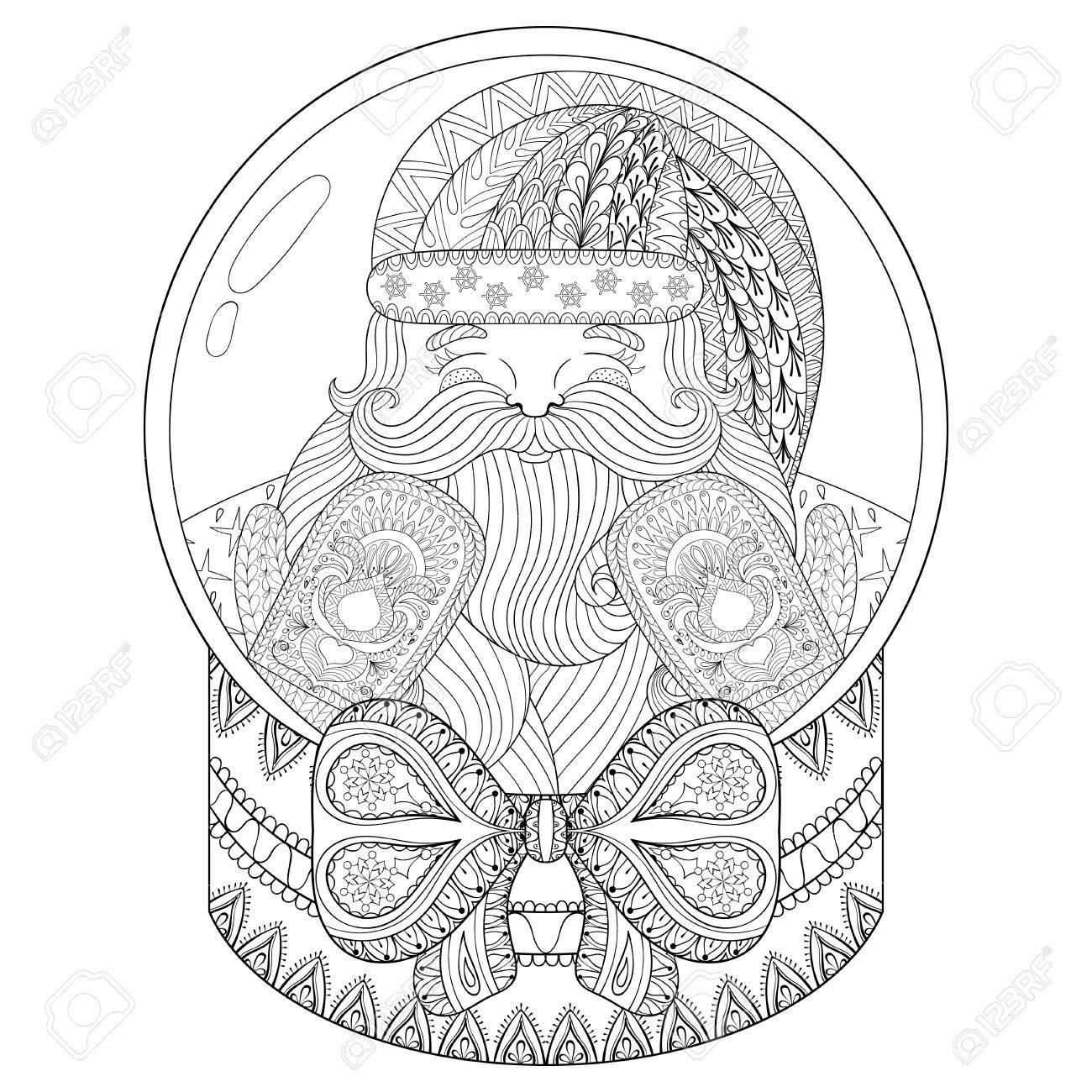 Hand Drawn Snowglobe For Adult Coloring Book Pages Art Therapy Illustration New Year 2017 Posters And Greeting Cards