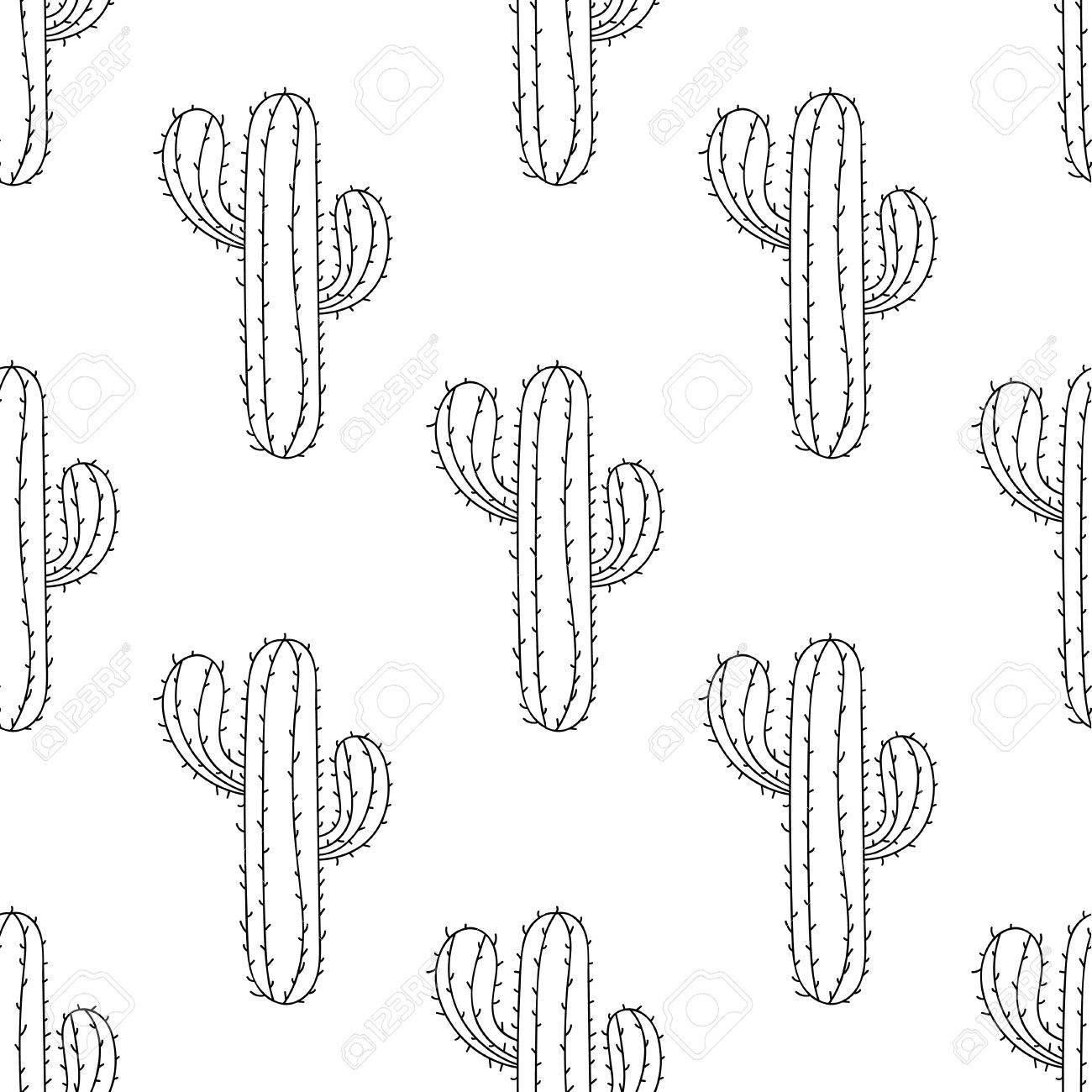 Cactus Mexicano Patrón Transparente, Ilustración Vectorial. Dibujado ...