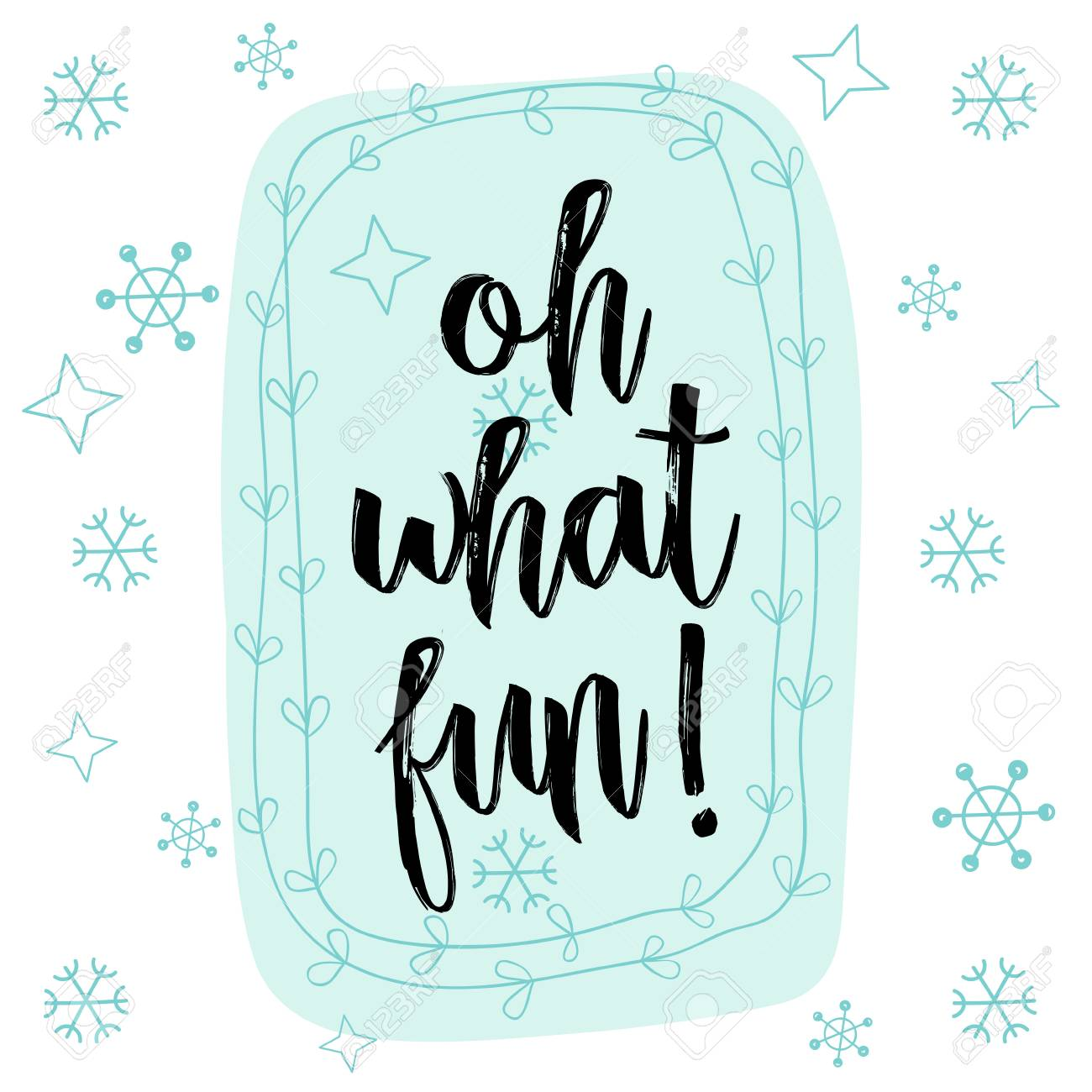 Christmas Calligraphy Oh What Fun! Hand Drawn Brush Lettering ...