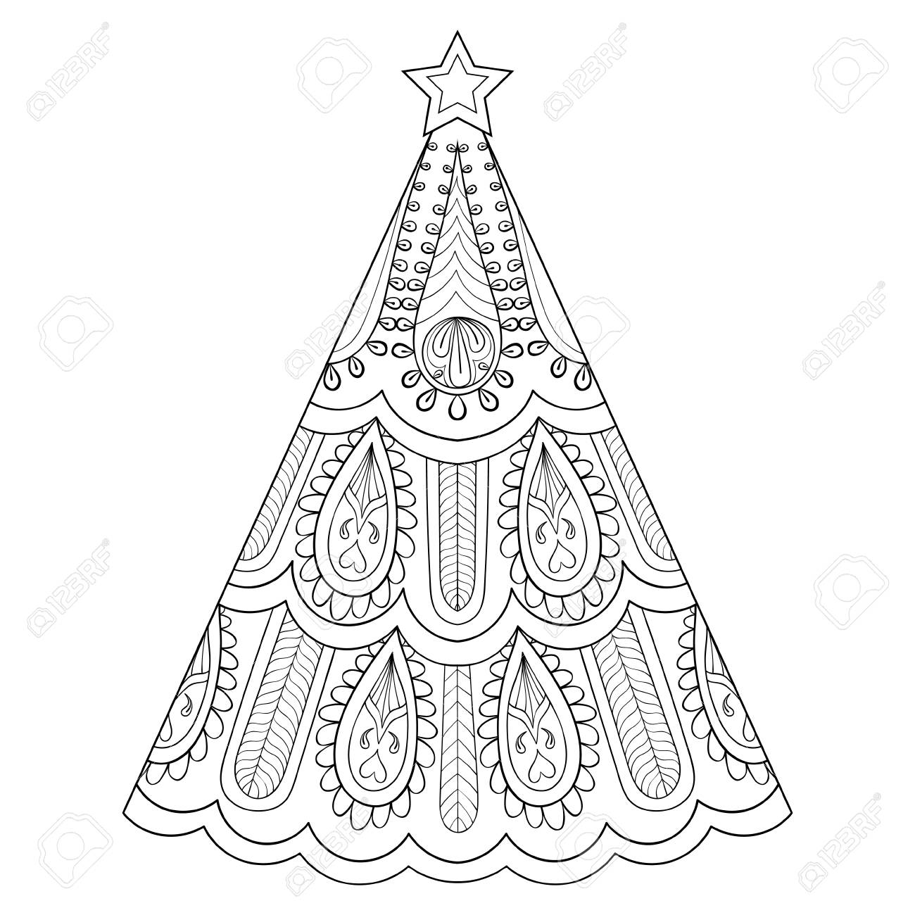 vector vector zentangle christmas tree ornamental hand drawn illustration for adult anti stress coloring page books art therapy greeting cards