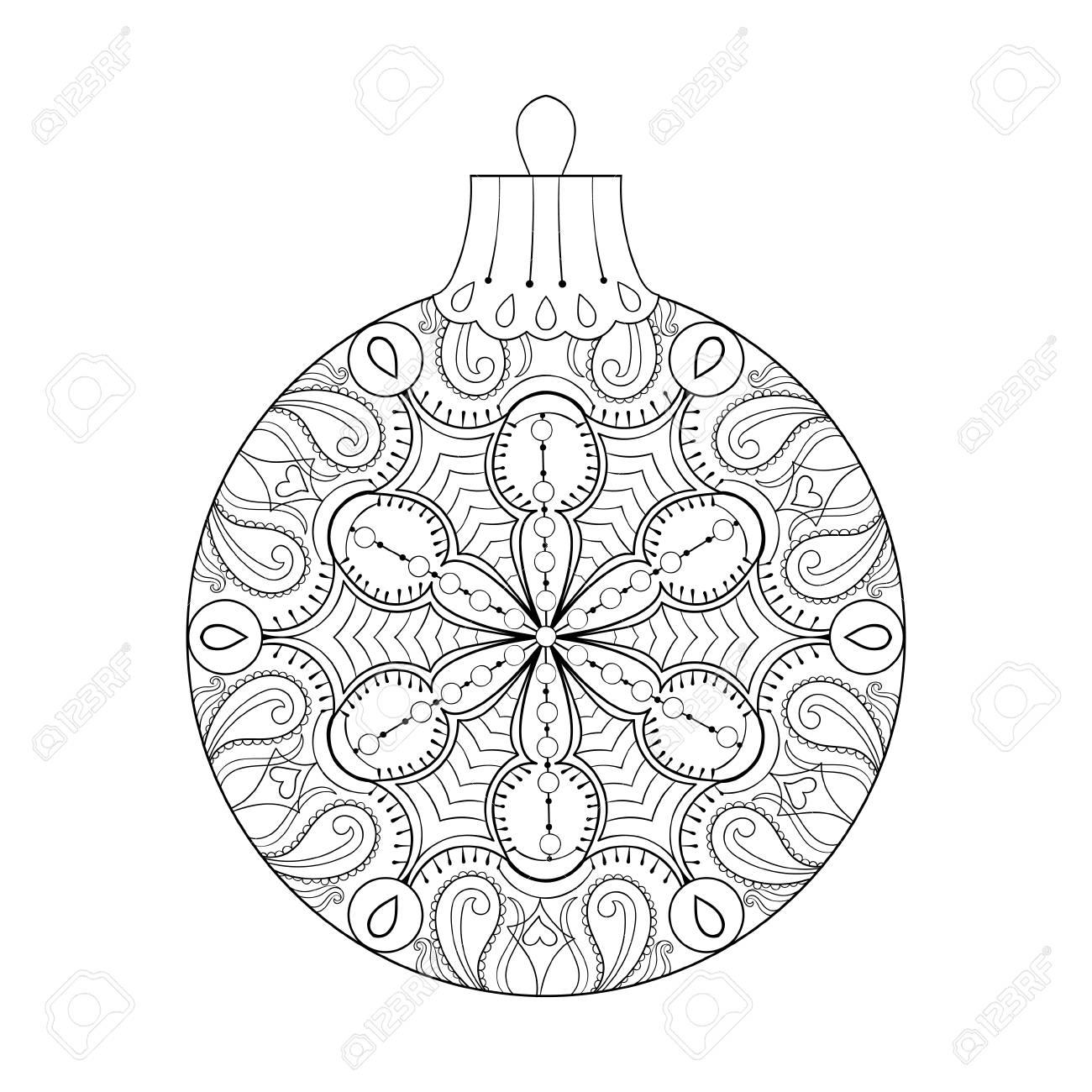 Vector La Bola De La Navidad Del Vintage, Elemento A Mano Alzada De ...