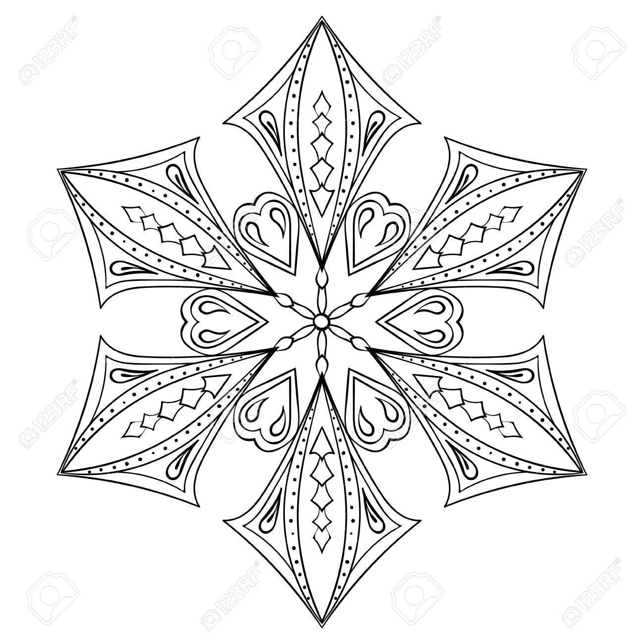 Zentangle Elegante Copo De Nieve Para Colorear Adultos. Ilustración ...