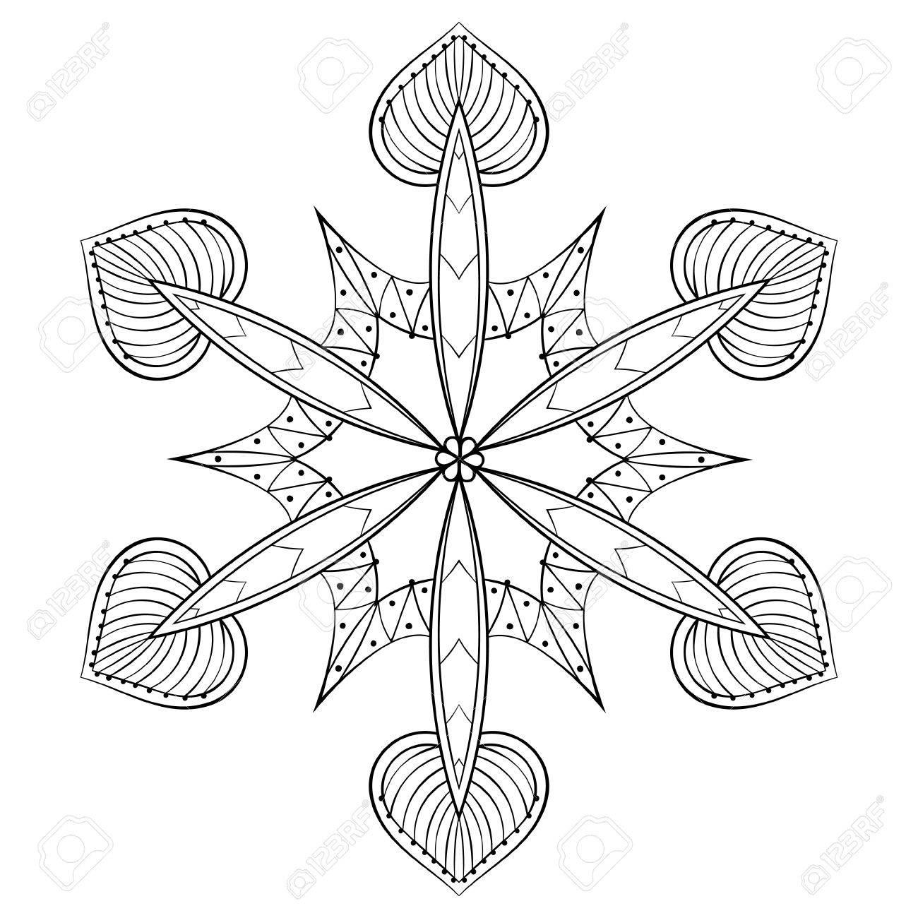 ベクトル Zentangle エレガントな雪のフレークは大人のぬり絵の