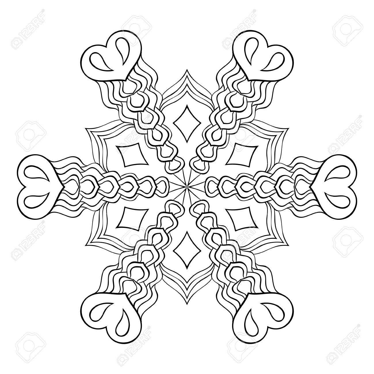 Zentangle Elegante Escama De La Nieve, Mandala Para Colorear Páginas ...