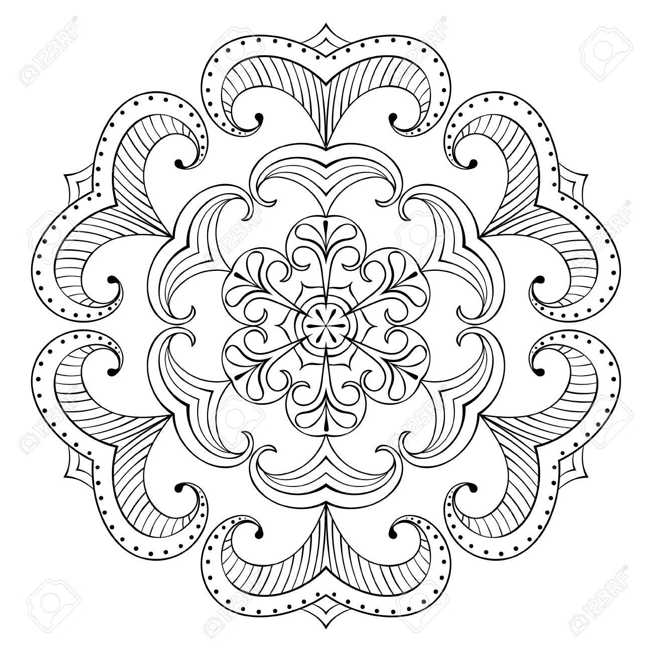 vector vector snow flake in zentangle style paper cutout mandala for adult coloring pages ornamental freehand winter illustration for decoration
