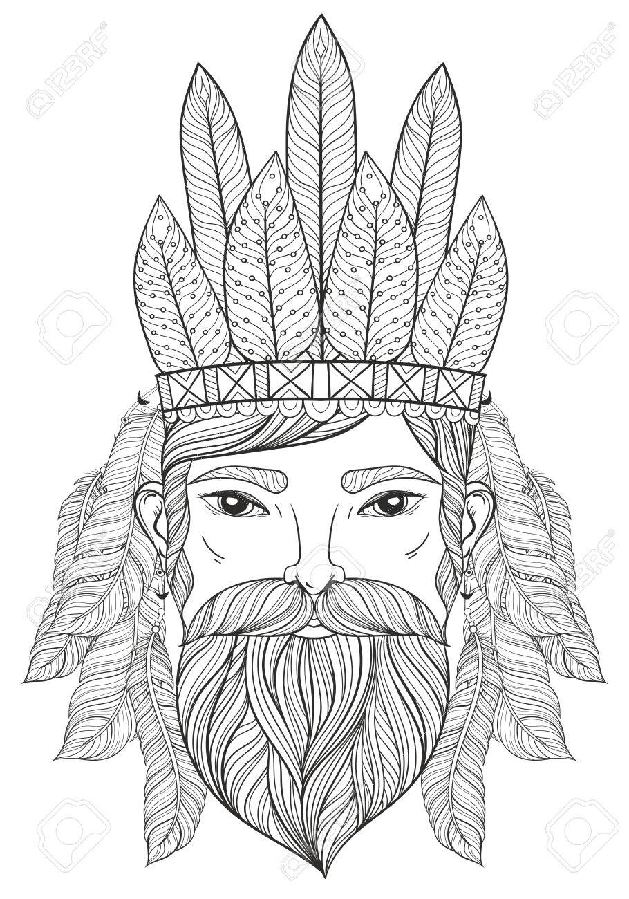 Vector vector zentangle portrait of man with mustache beard war bonnet with feathers for adult coloring pages tattoo art ethnic patterned t shirt