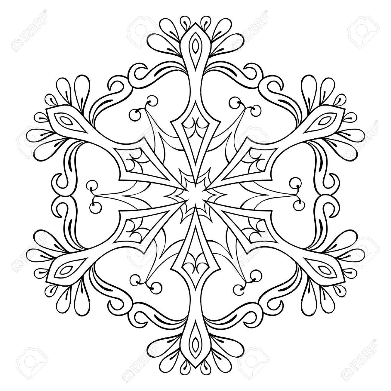 Vector Snow Flake In Zentangle Style Mandala For Adult Coloring