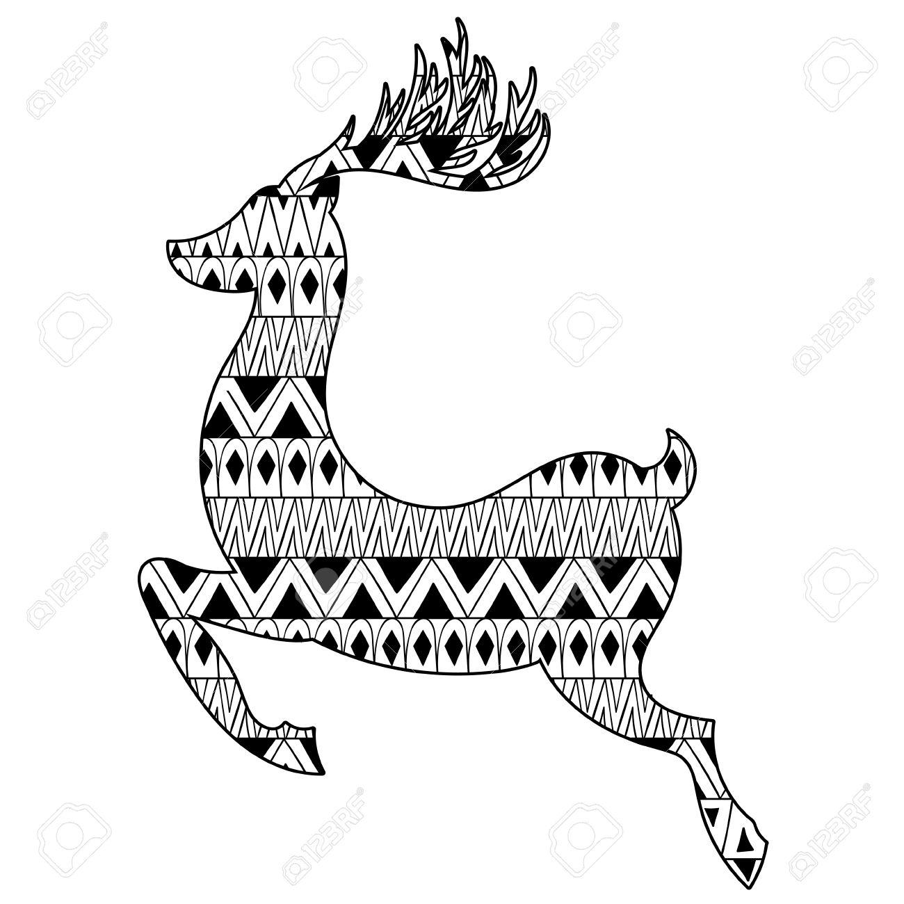 Reno De La Navidad étnica Tribal. Diseño Del Tatuaje De Boho Con ...