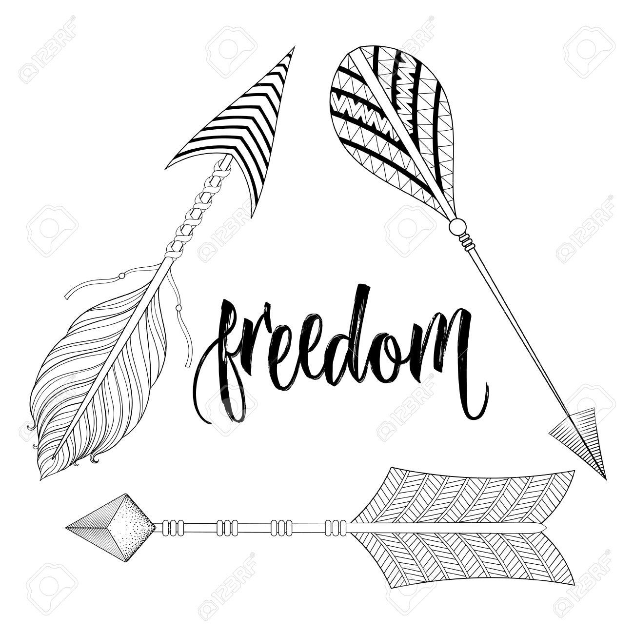 Boho Chic Etnica Dreamcatcher Con Piume Frecce La Libertà Calligrafia Concetto Di Pantaloni A Vita Bassa Stile Americano Nativo Illustrazione