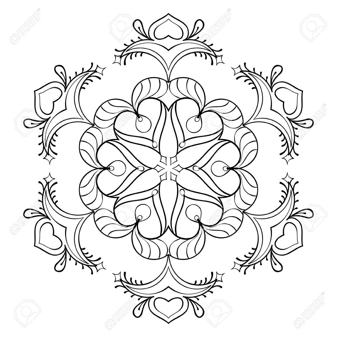 Vector Zentangle Snow Flake, Elegant Mandala For Adult Coloring ...