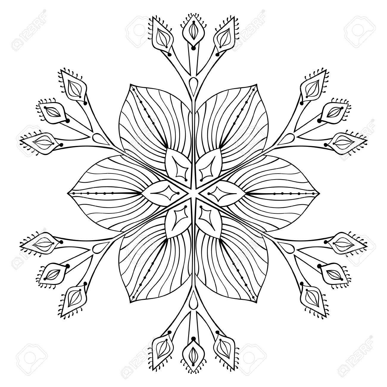 Vector De Copo De Nieve En El Estilo De Dibujo Zentangle Mandala