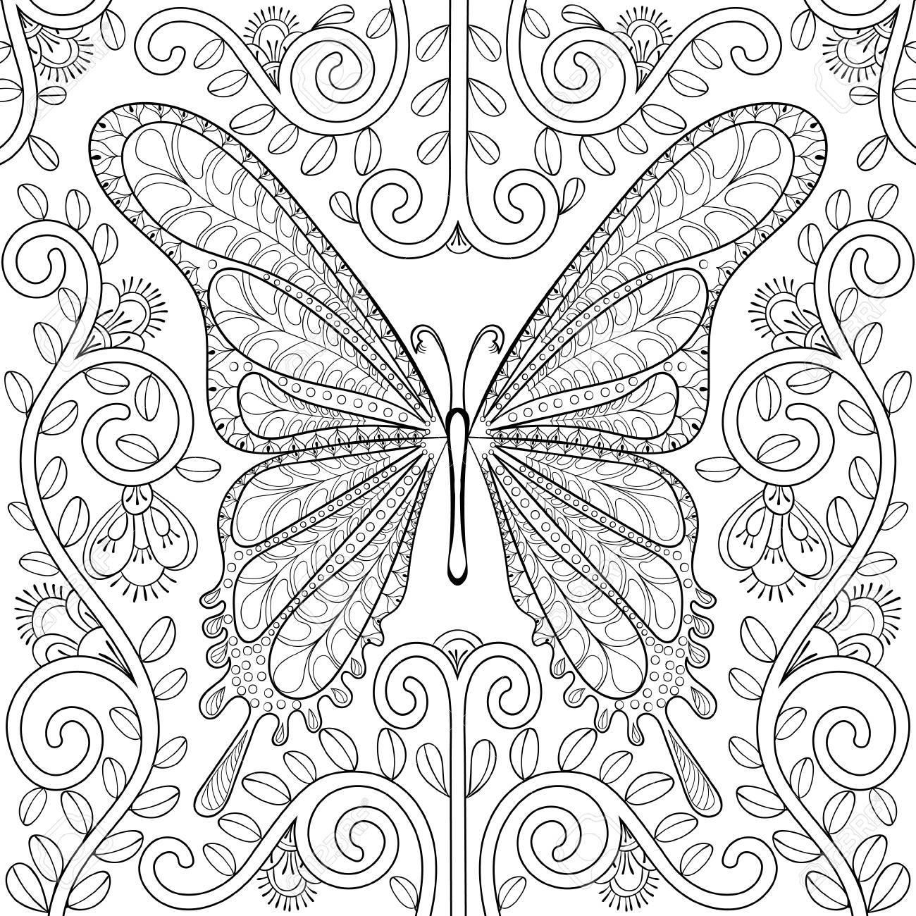 大人のぬり絵花ページで蝶と芸術療法ポストカードt シャツ