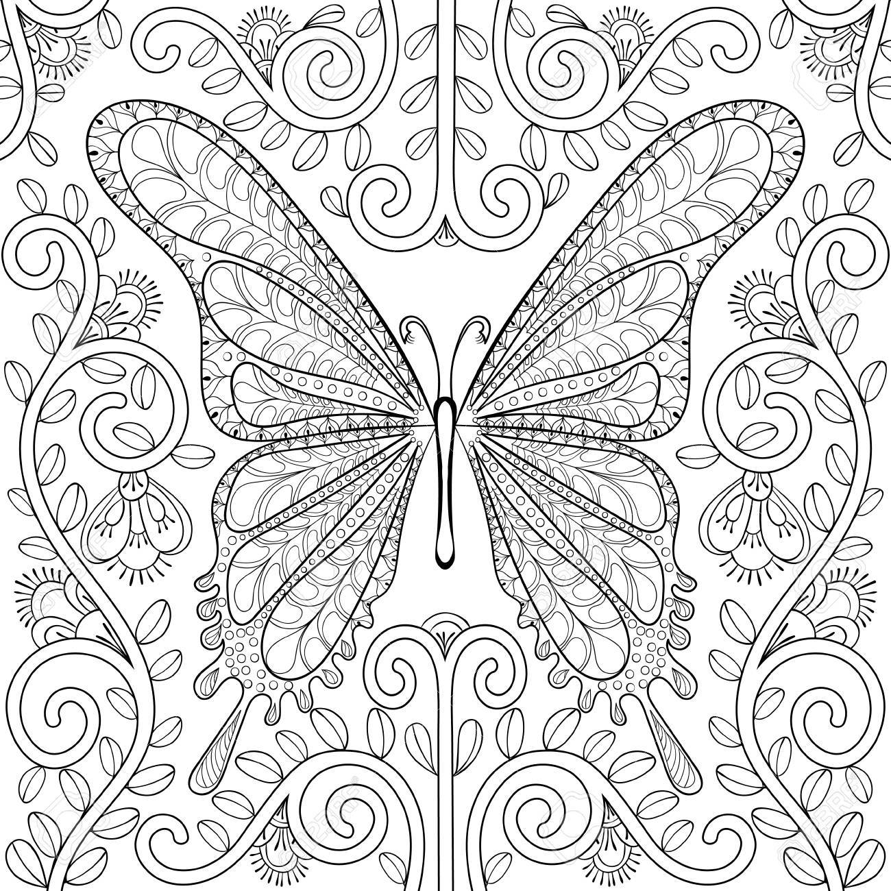 Adult coloring book with butterfly in flowers pages, zentangle..