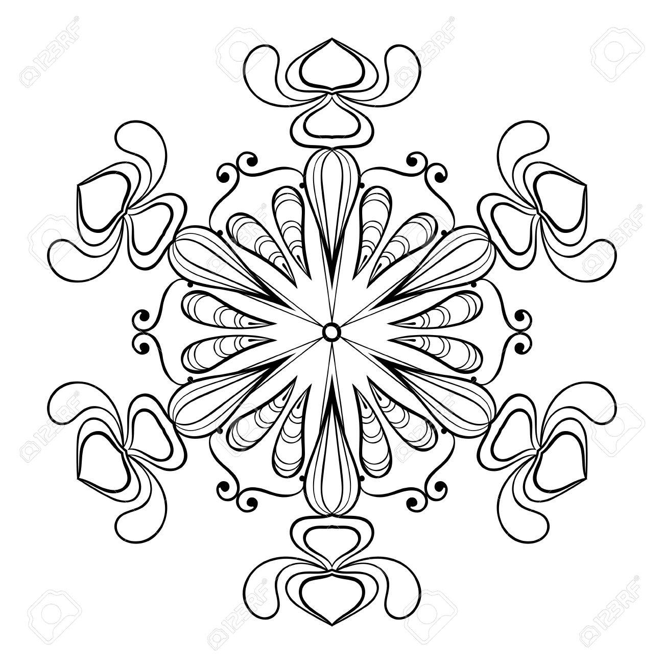 Vector Snow Flake In Zentangle Doodle Style, Vintage Mandala ...