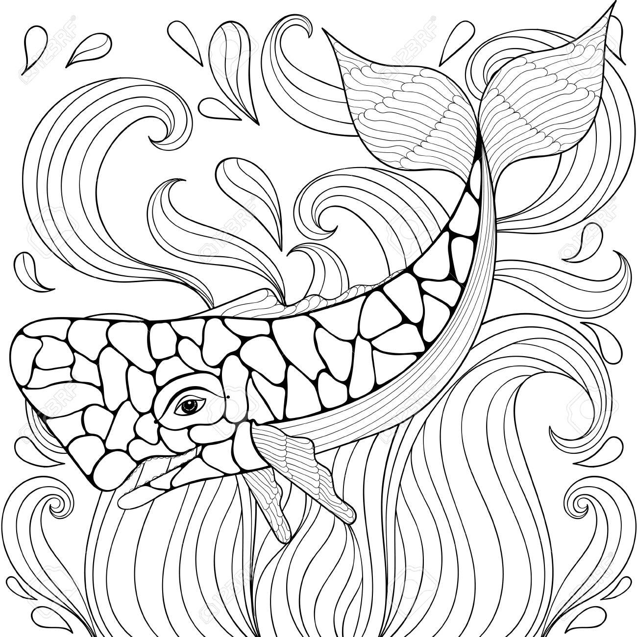 Ballena Zentangle En Las Ondas. Boceto A Mano Alzada Para Colorear ...
