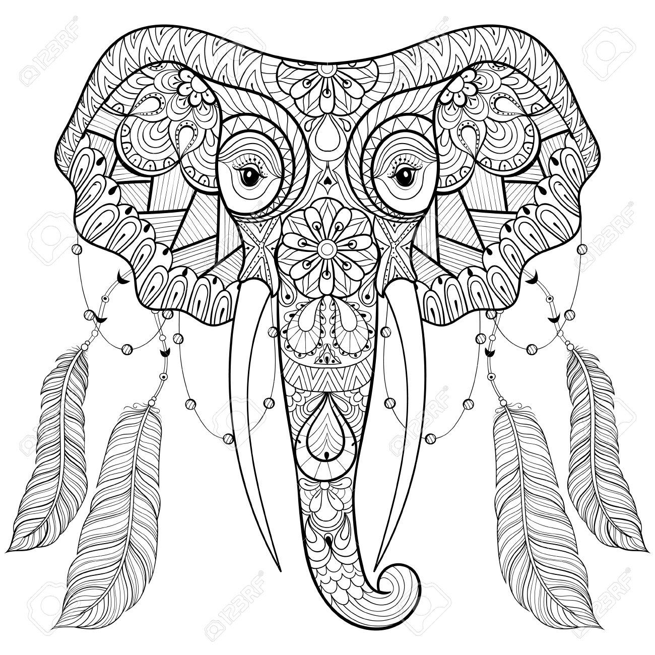 Elefante Indio Zentangle Con Plumas De Aves En El Estilo Boho Chic ...