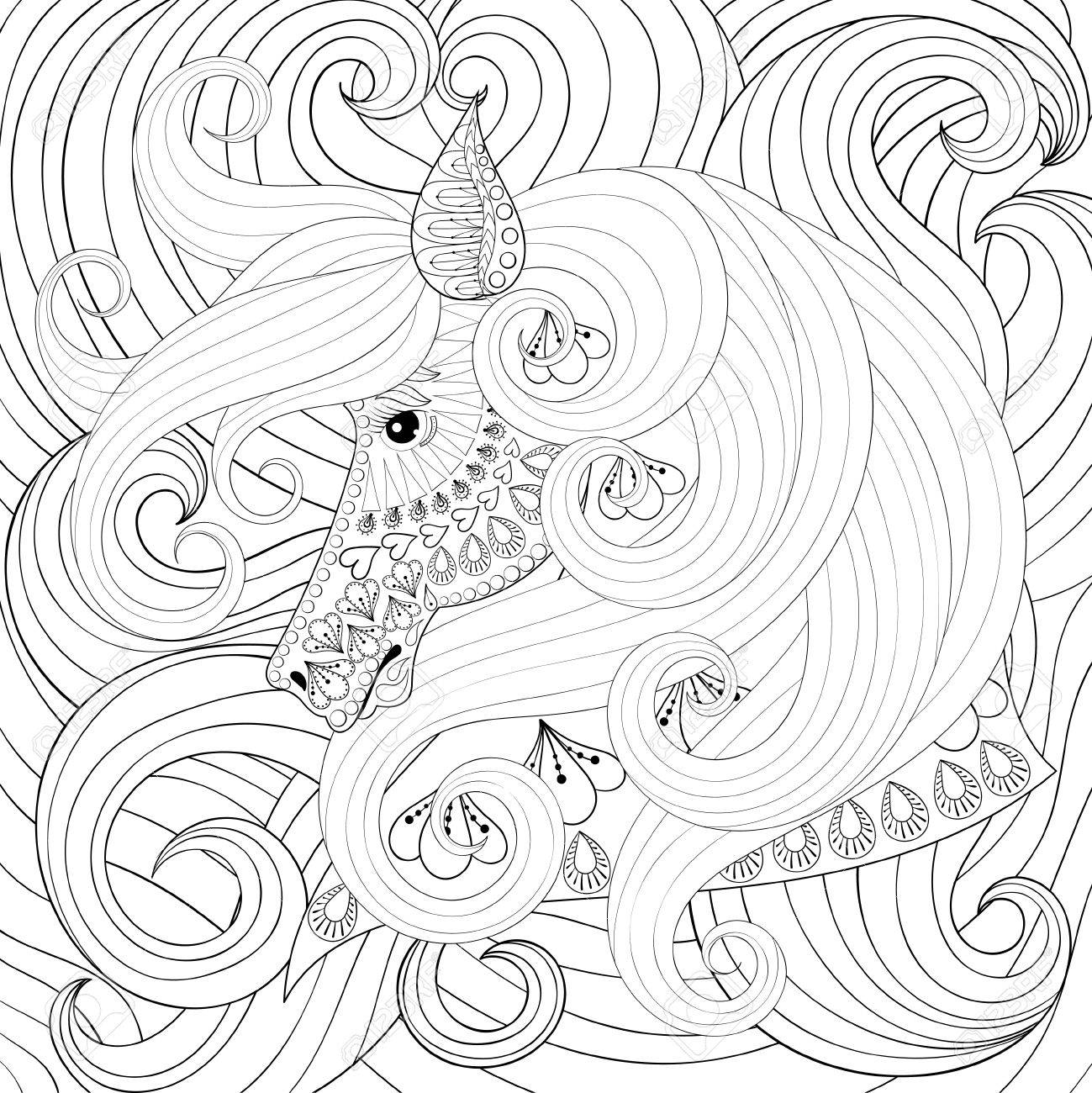 Adult Coloring Book With Horse Head With Long Hairs, Zentangle ...