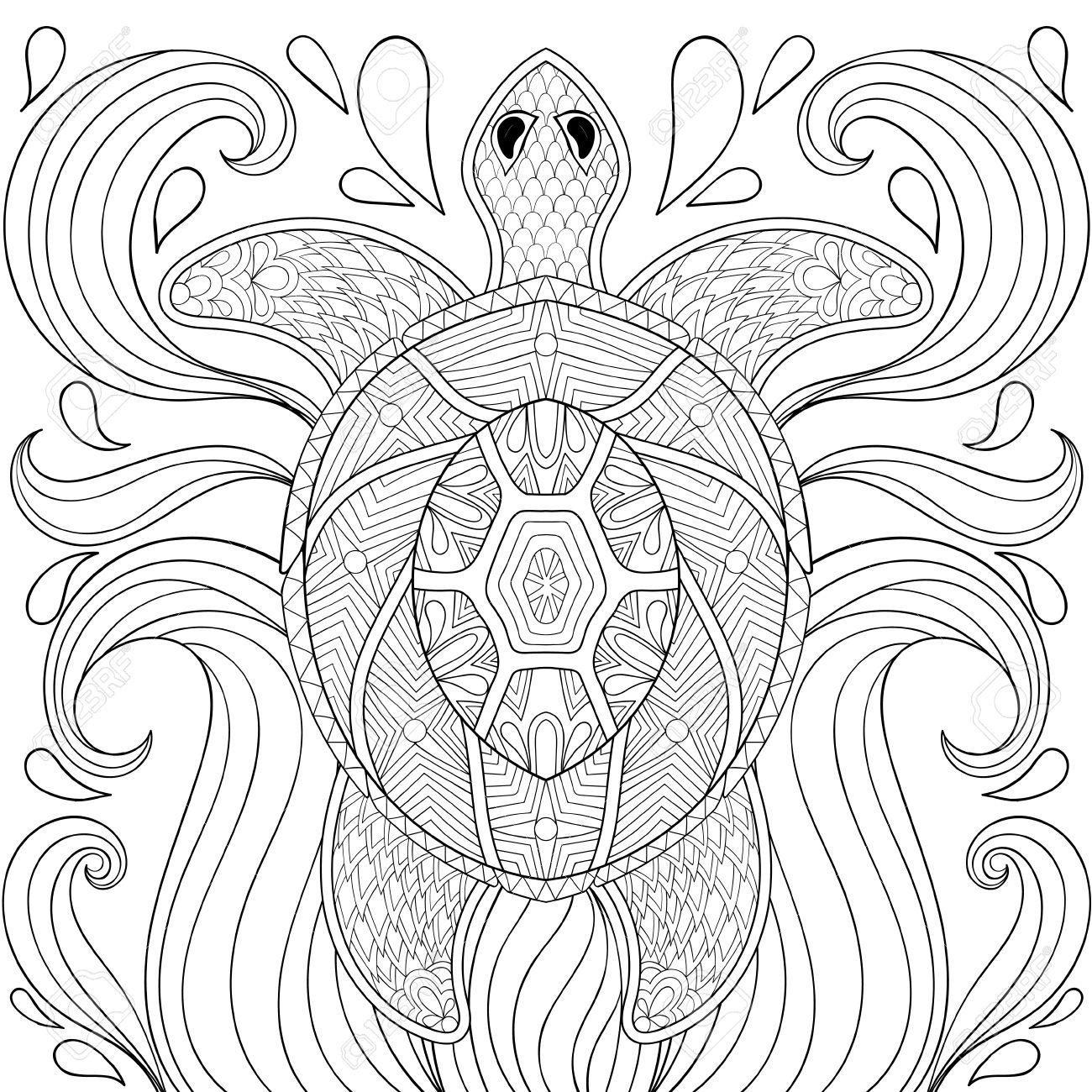 Tortuga Zentangle En Las Ondas. Boceto A Mano Alzada Para Colorear ...