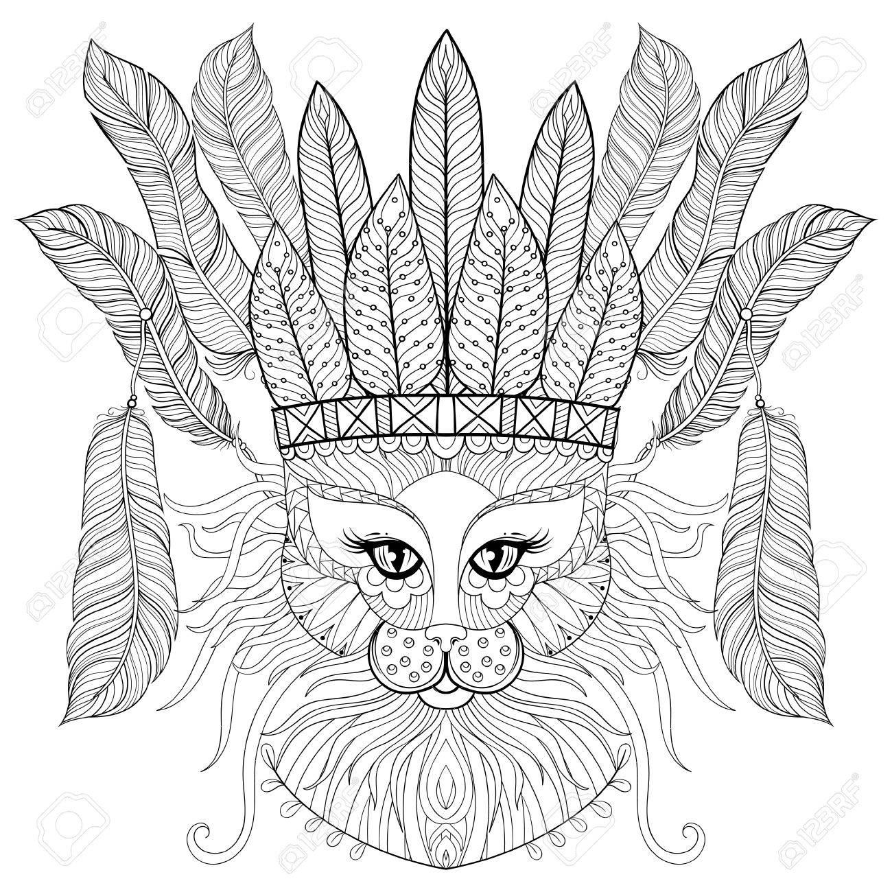Gato De Zentangle Con Tocado De Guerra Indio, Plumas De Aves Para ...
