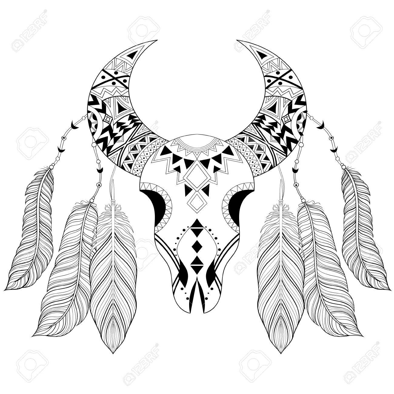 Cráneo Animal Boho Zentangle Con Plumas De Aves. Ilustración ...