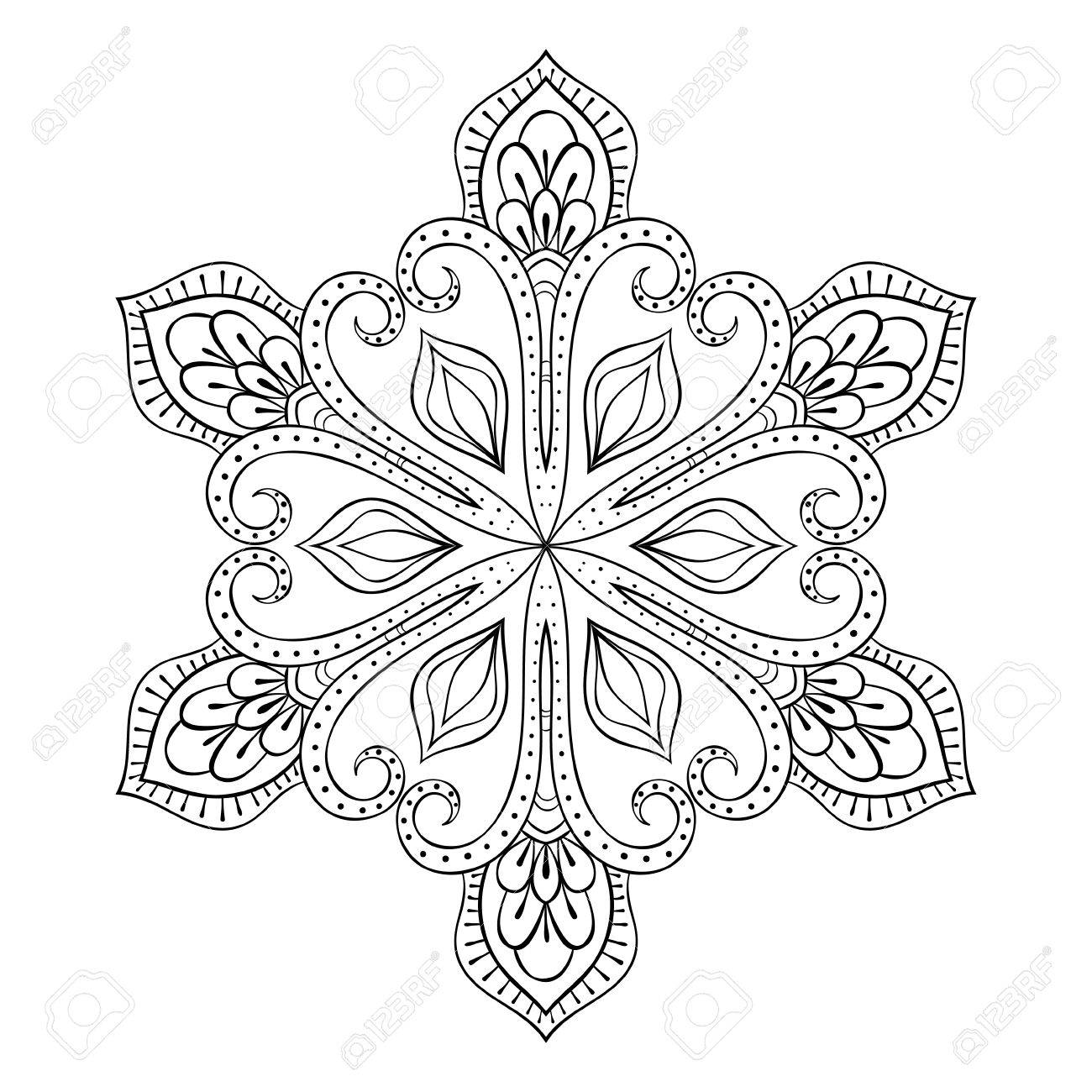 Vector Copo De Nieve En Estilo Zentangle, Doodle Mandala Para ...