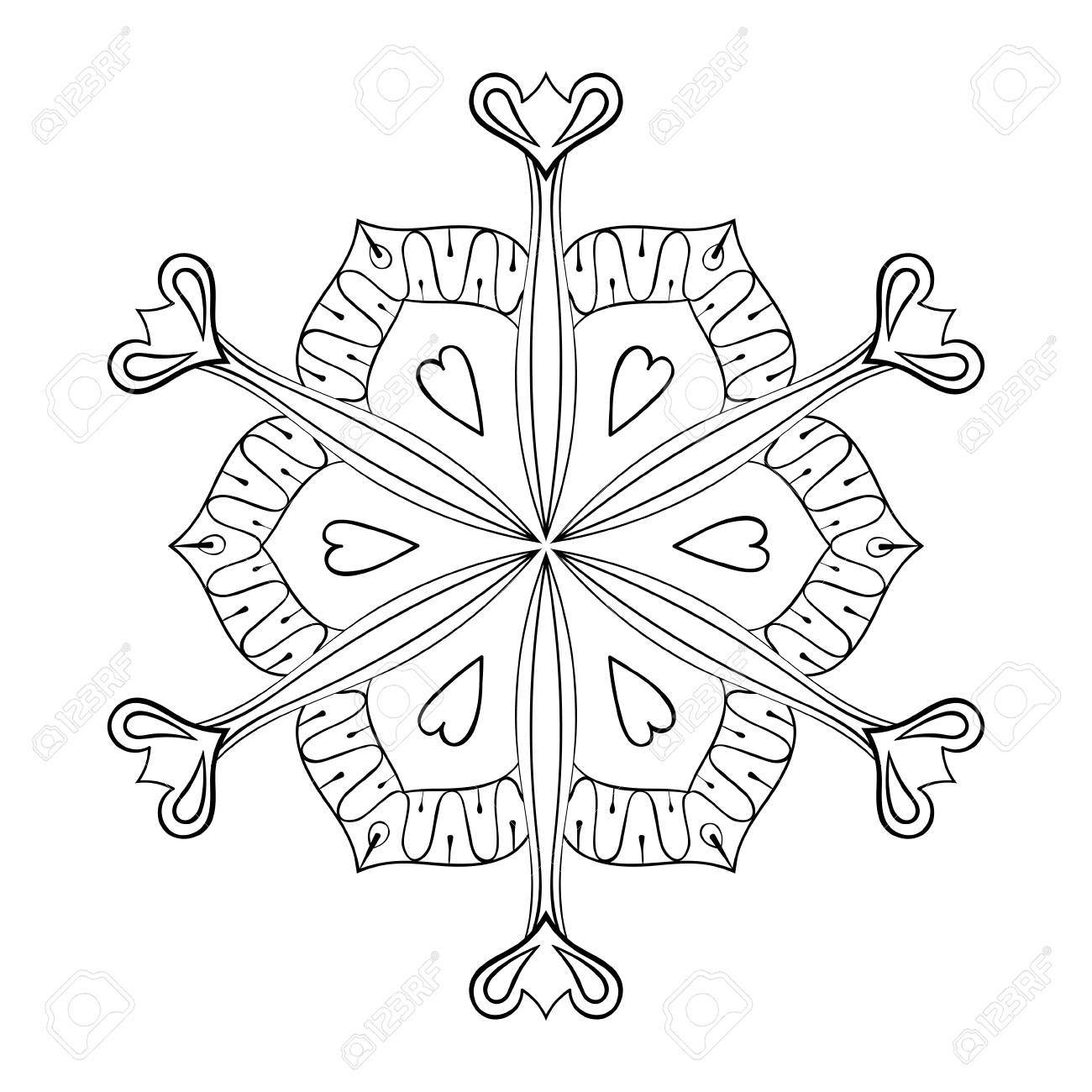 vector vector paper cutout snow flake in zentangle style doodle mandala for adult coloring pages ornamental winter illustration for decoration