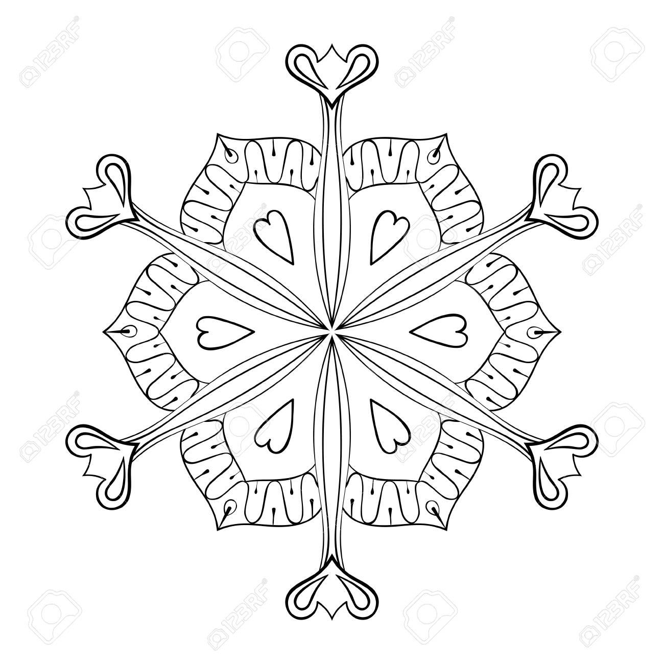 Vektor-Papier-Ausschnitt Schneeflocke In Zentangle Art, Doodle ...