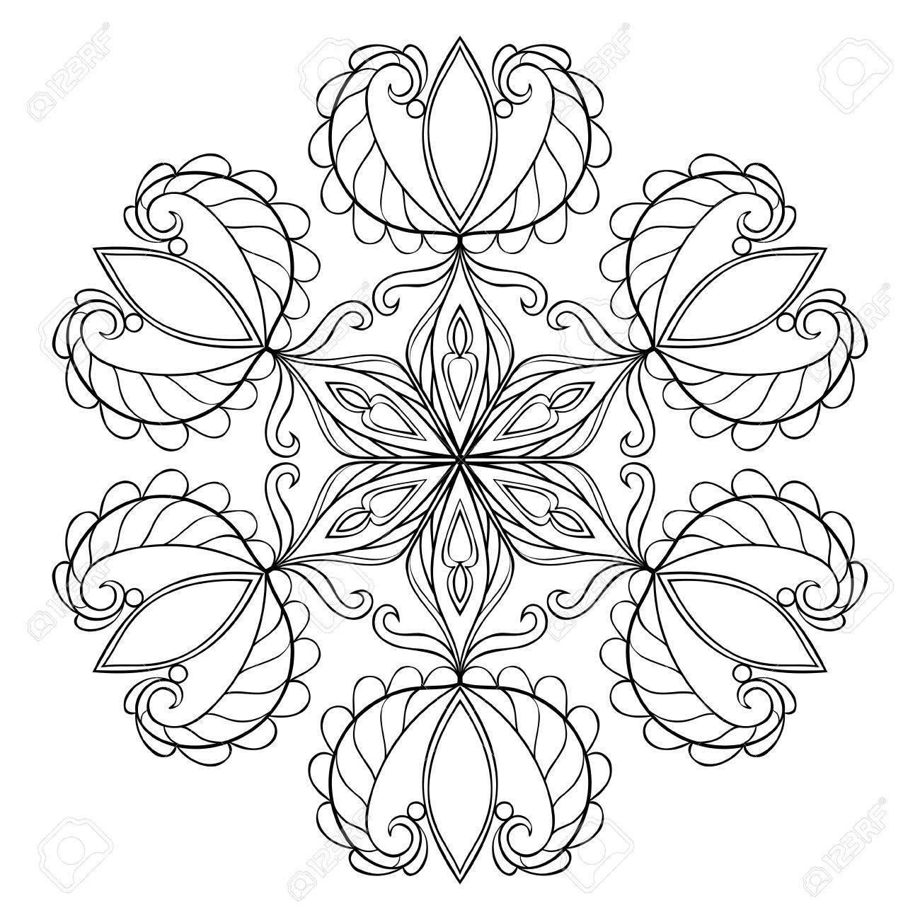 Nieve Del Vector Negro De Escamas En El Estilo De Dibujo Zentangle Mandala Para Colorear Páginas Para Adultos Invierno Ilustración A Mano Alzada