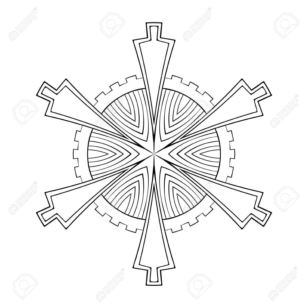 Vektor-Papier-Ausschnitt Schneeflocke In Zentangle Geometrischen ...