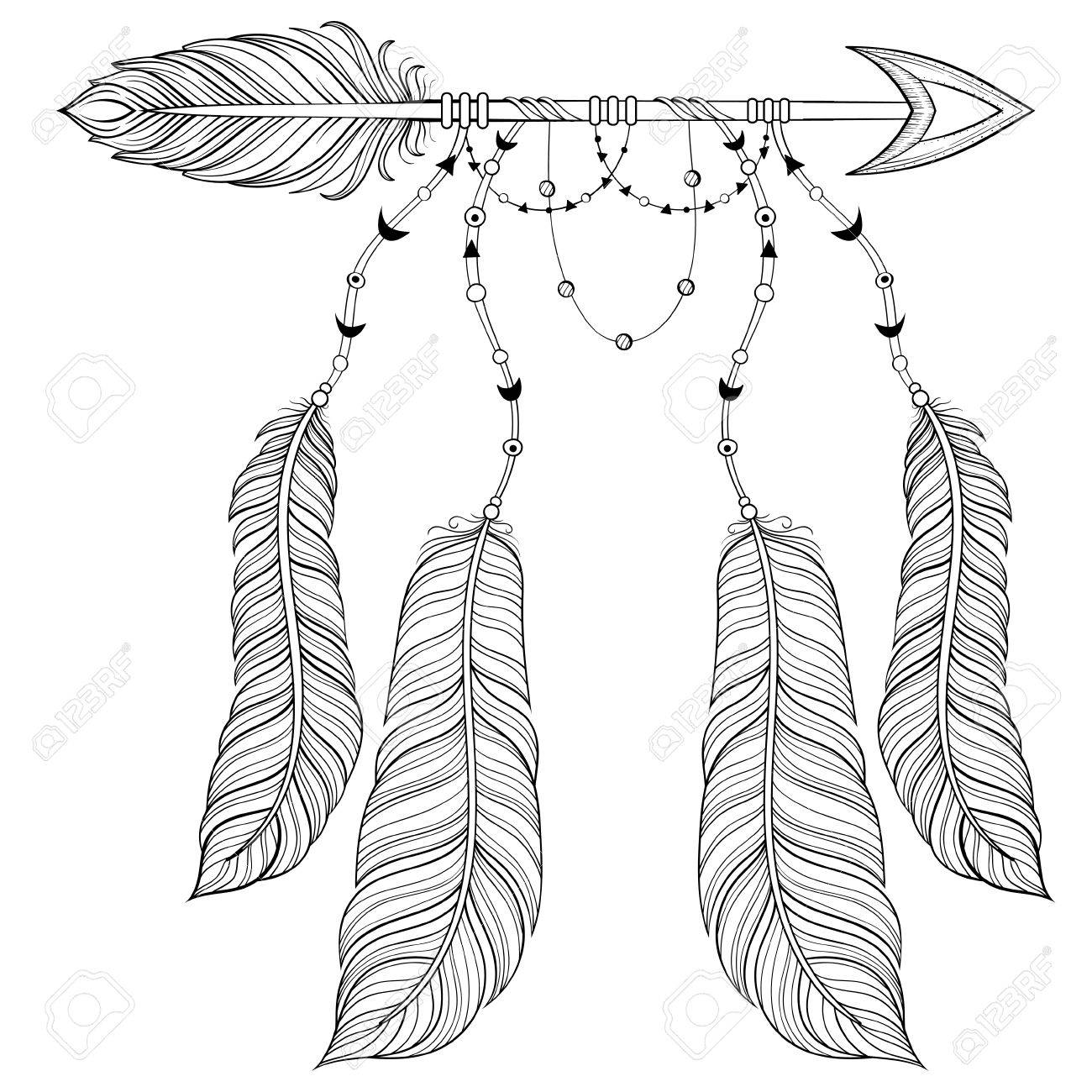 Vector Ethnic Arrow With Bird Feathers Boho Style Concept American