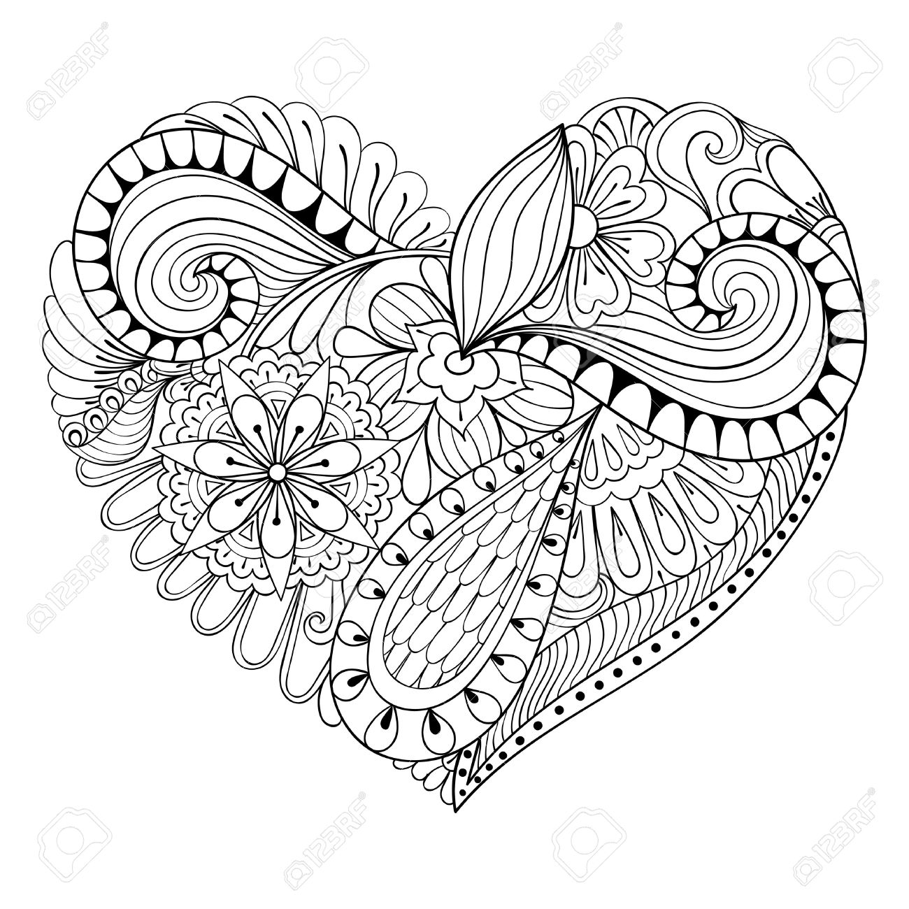 Artistic floral doodle heart in zentangle style for adult coloring..