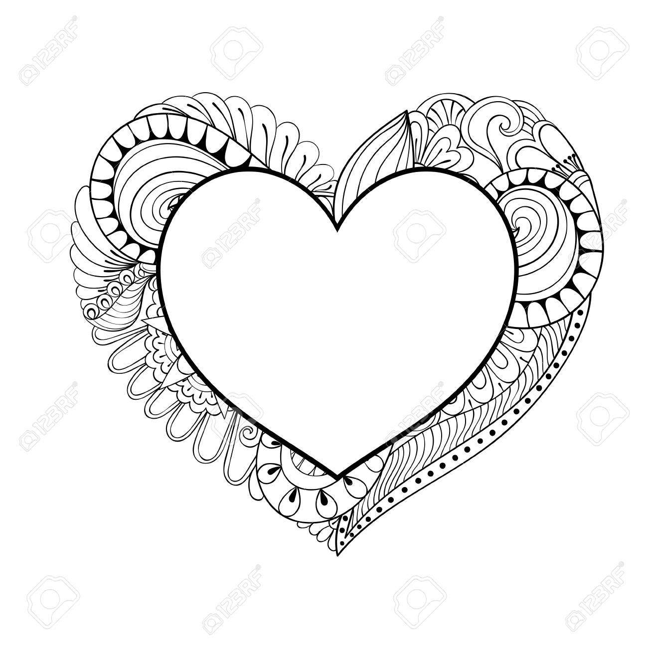Floral Doodle Heart Frame In Zentangle Style For Adult Coloring ...