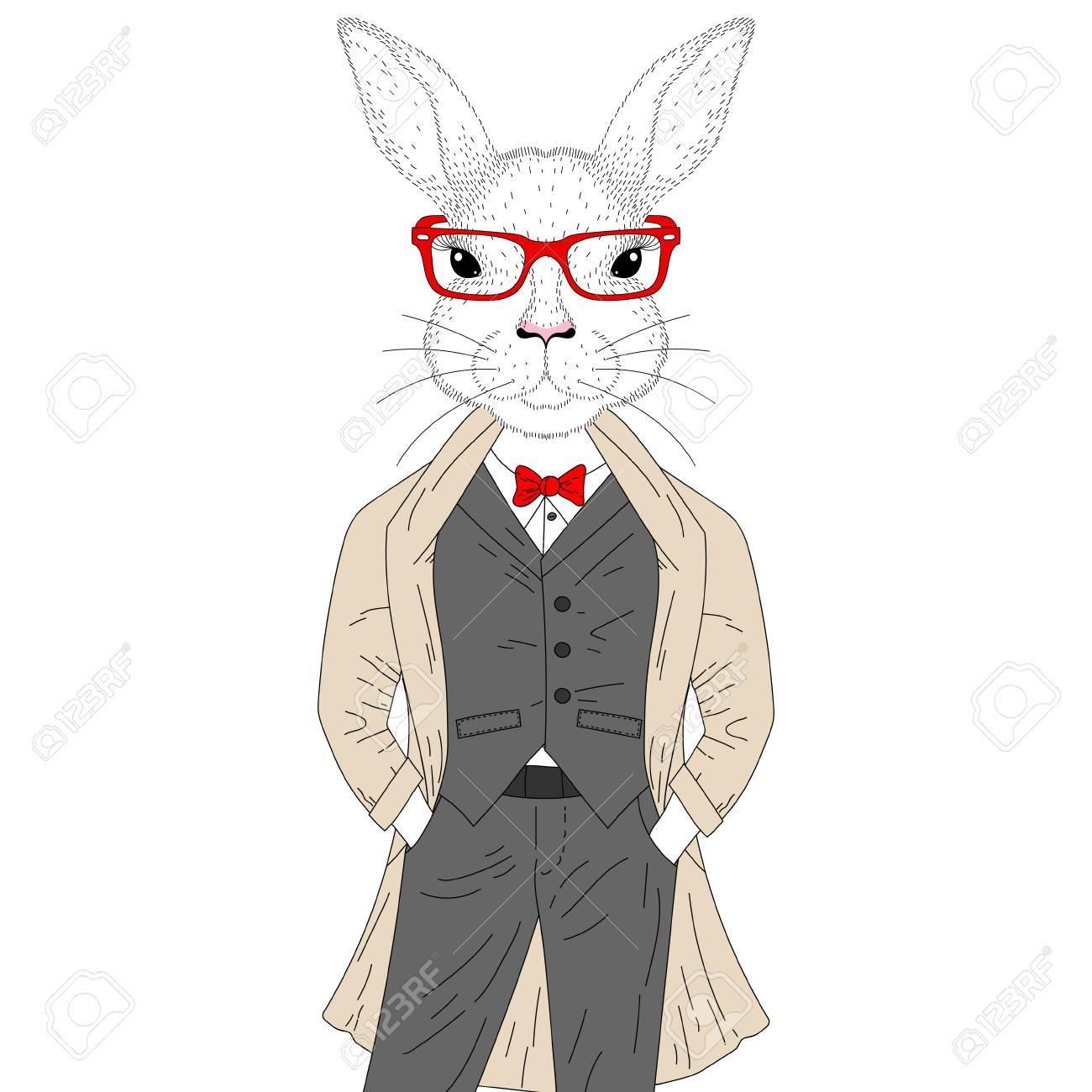 ベクトル コートガラスとエレガントなスーツのかわいいウサギ男の子